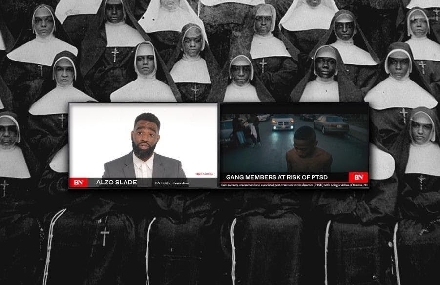 Installation: a dual-screen display; o Slade reports on gang member's risk of PTSD in the left screen while the right screen features an image from Joseph's m.a.a.d. The background consists of a black and white image of nuns.