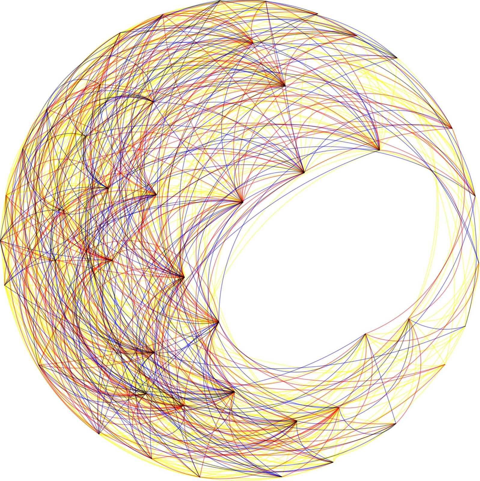 A dense, interconnected web of colored lines in blue, red, yellow, and black, converging in points throughout a moon shape with closed points