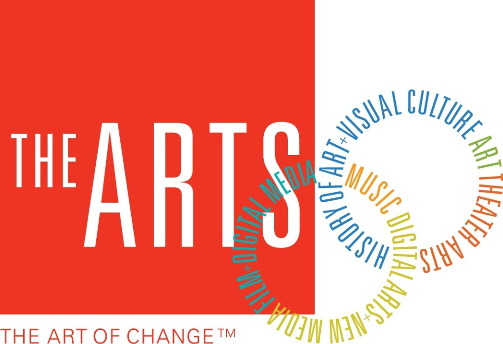 """Logo for the Arts Division at University of California, Santa Cruz. A red box with white text and """"The Art of Change"""" beneath it, and two multicolored circles listing each of the departments."""