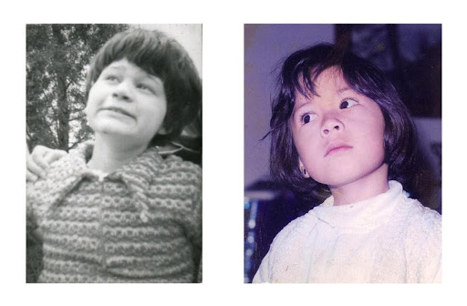 Two photographs side by side. On the left is a black and white portrait of Coquis. On the right is a color portrait of me.