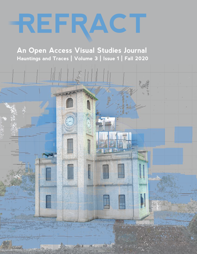 The journal's cover, featuring an off-white building with diaphanous medium blue streaks laid on top of it, on a dappled gray ground.
